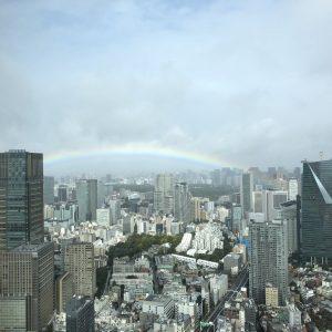 「即位礼正殿の儀」が始まった途端、雨がやみ、虹がかかり、日が差し青空が見え始め 富士山も姿を現して祝砲がとどろく